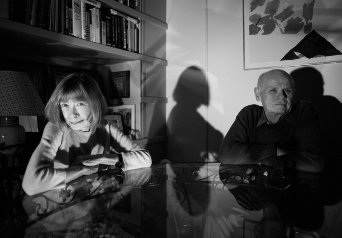 2000, New York State, USA --- Writers Joan Didion and John Gregory Dunne --- Image by © Richard Schulman/CORBIS